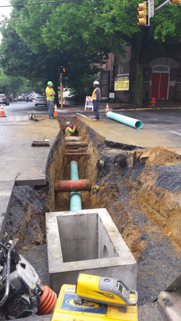 Storm-water piping installation beneath Mulberry St.
